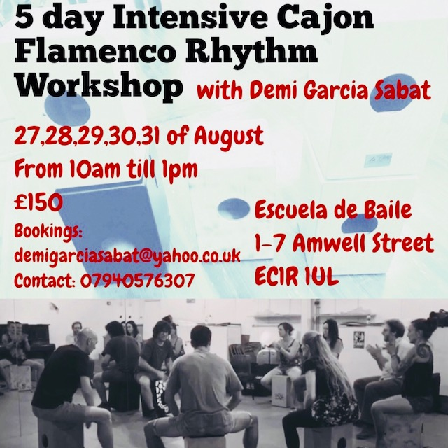 5-Day Intensive Cajon Flamenco Rhythm Workshop with Demi Garcia Sabat - London August 2018