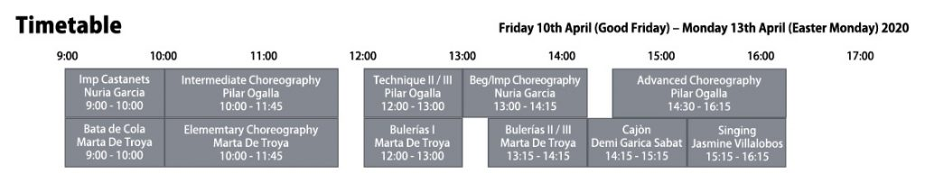Easter Course 2020 - Escuela de Baile London - Timetable