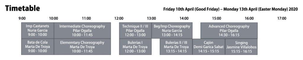 Easter Course 2020 - Escuela de Baile London - Timetable